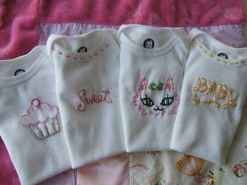 embroidering baby onesies